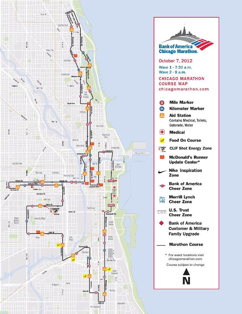 Bank Of America Chicago MarathonChicagos Rd Ward - Chicago marathon map 2016